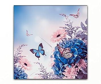 Bilderfabrik Kunstdruck Blumen Schmetterlinge Auf Leinwand Und