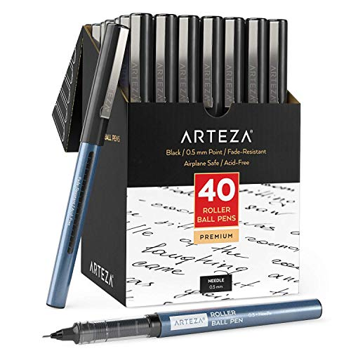 Arteza Rollerball Pens Fine Point, Set of 40 Black Liquid Ink, Extra Fine 0.5 mm Needle Tip Pen, Make Precise Lines, Office Supplies for Writing, Notetaking, and Drawing