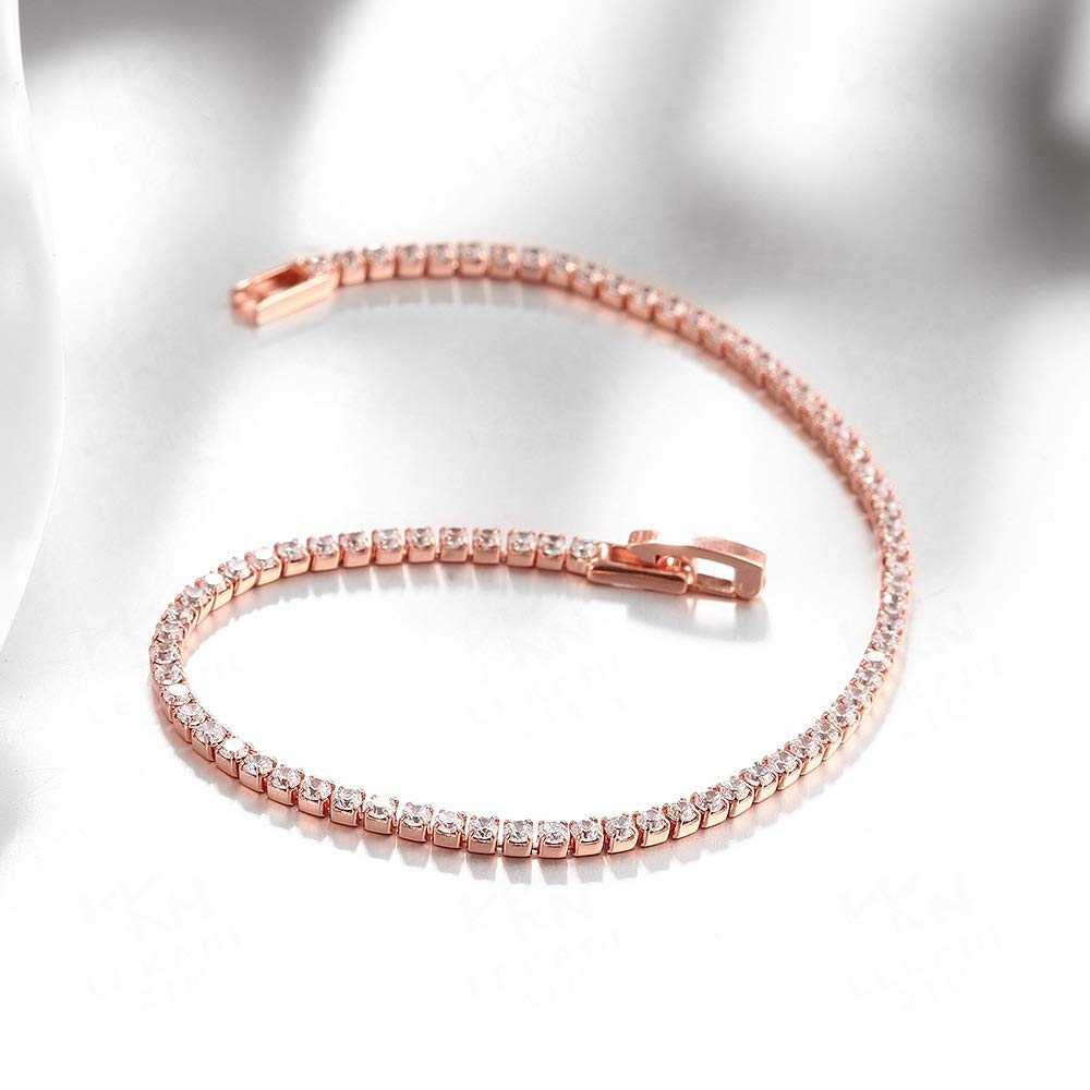 Beautiful and Delicate Bracelet European and American Jewelry Rose Gold Alloy Diamond Bracelet (Color : Rose Gold) (Color : Rose Gold)