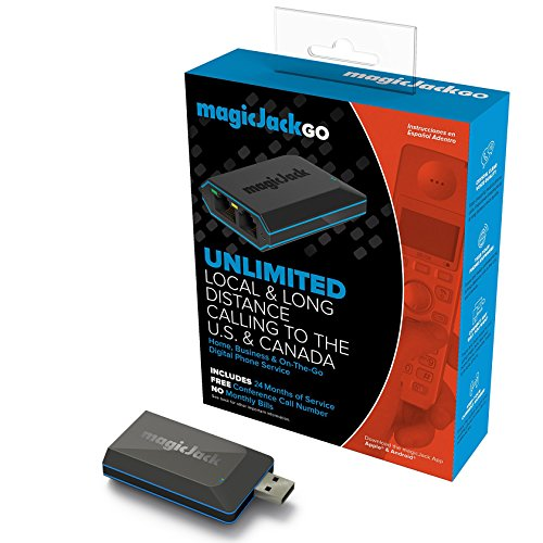 Voip Internet Calling - MagicJack Go Digital Phone Service - Unlimited Internet Enabled Mobile Calling To US And Canada - 24 Months Of Service