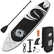 SereneLife Premium Inflatable Stand Up Paddle Board (6 Inches Thick) with SUP Accessories & Carry Bag   Wi