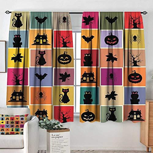 Elliot Dorothy Waterproof Window Curtain Vintage Halloween,Bats Cats Owls Haunted Houses in Squraes Halloween Themed Darwing Art,Multicolor,Blackout Draperies for Bedroom 42