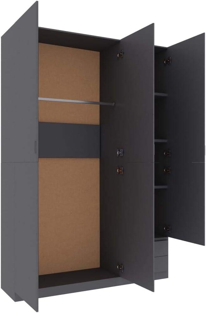 vidaXL 3-Door Wardrobe Home Indoor Living Room Bedroom Shelves Drawer Clothes Cabinet Storage Cupboard Furniture White 120x50x180cm Chipboard Grey