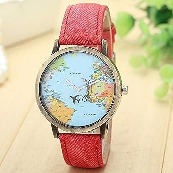 Buy shocknshop mini world map unisex stylish denim casual wrist shocknshop mini world map unisex stylish denim casual wrist watch red gumiabroncs Gallery