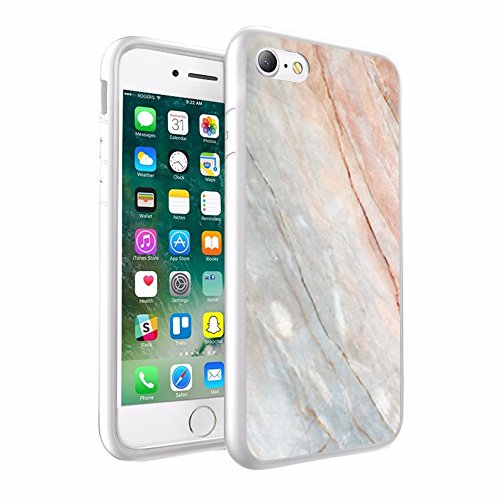 iPhone X Hülle, einzigartige Custom Design Prodective harte zurück dünner dünner Fit PC Bumper Case Kratzfeste Abdeckung für iPhone X - Light Peach & Smoke Marmor-Design 058