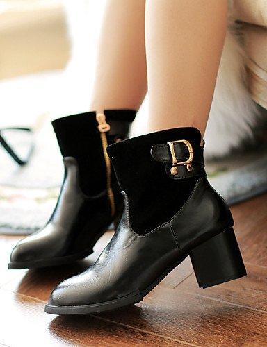 Brown us10 Robusto Cn43 A Mujer La Semicuero Negro Casual De Vestido Moda Punta Zapatos Tacón Redonda Vellón Uk Marrón Eu42 5 5 Xzz Botas Uk8 gIUTx