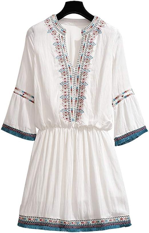 RENJIANFENG Vestido Mujer Étnica Floral Bordado Bohemio Cuello En ...