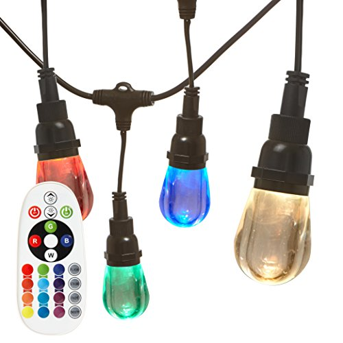 BWSTRING10 Outdoor LED Color Changing RGB String Lights with Warm and Cool White Light with Weatherproof Technology, Heavy Duty 18-Foot Cord with 10 Hanging Sockets and Remote ()