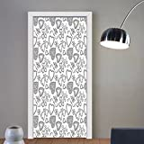 Gzhihine custom made 3d door stickers Sketchy Hand Drawn Like Hearts Flowers Swirls Leaves Ivy Buds Romantic Image Artwork Black and White For Room Decor 30x79
