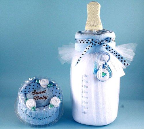 Blue Baby Towel Cake & Bottle of Milk Unique Gift Set for Newborn Boys