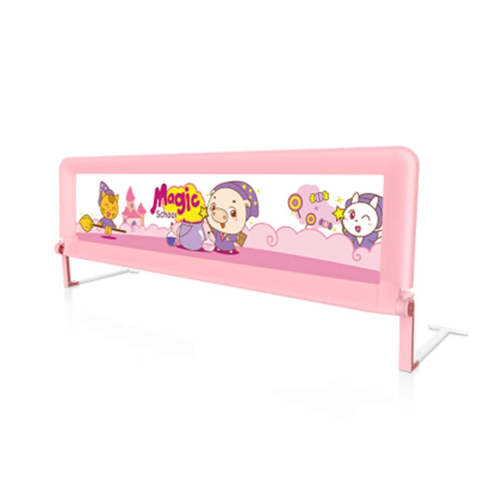 HAIYU ベッドガード- 子供用ベッドガードレールフェンスベビーベッドバッフルアンチピンチ1.5 / 1.8 M 組み立てや折りたたみが簡単 (Color : Pink, Size : 180cm) 180cm Pink B07TD2CRCR