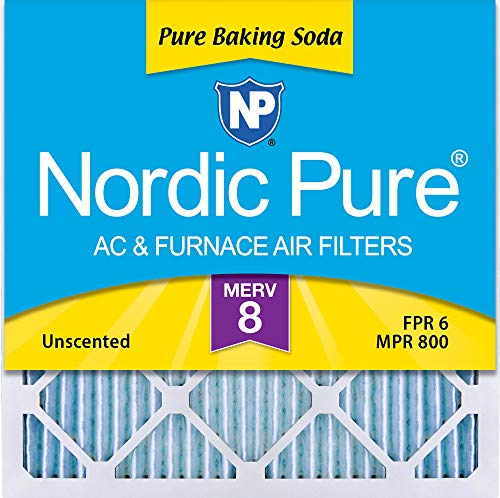 Nordic Pure 14x14x1 Pure Baking Soda Odor Deodorizing AC Furnace Air Filters, 3 Pack, 14x14x1, 3 ()