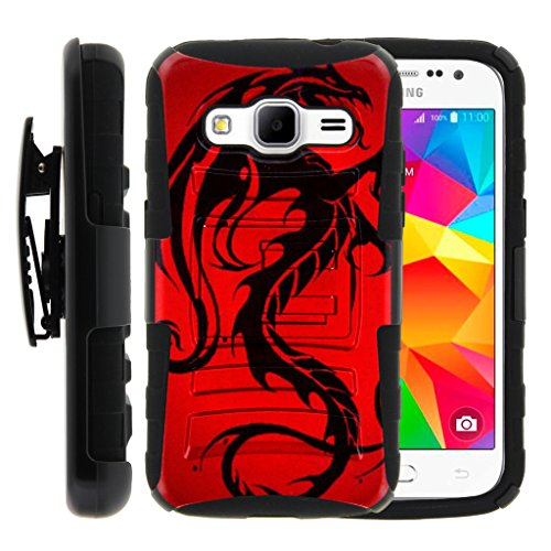 TurtleArmor | Compatible for Samsung Galaxy Core Prime Case | Prevail | Win 2 [Hyper Shock] Hybrid Dual Layer Armor Holster Belt Clip Case Kickstand - Red Dragon (Samsung Galaxy Prevail Cases)