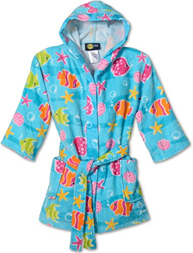 Splish Splash & Me Girls Beach Bath Ocean Hooded Robe Cover Up, Kids Size M(7/8)