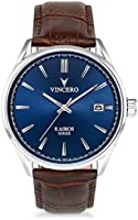 Vincero Luxury Men's Kairos Wrist Watch - Blue dial with Brown Leather Watch Band - 42mm Analog Watch - Japanese Quartz...