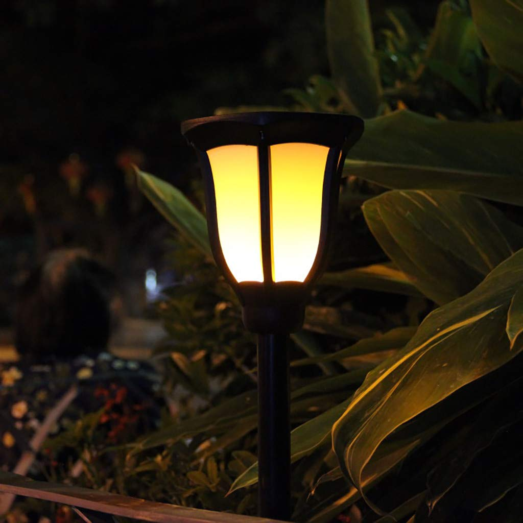 LED Solar Garden Lamp, Torch Flame Waterproof Garden Flickering Torches Lights Lamp Decor Colorful Outdoor Solar Spotlights Landscape Decoration (Black)