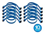 Monoprice 10 Pack 18in SATA 6Gbps Cable Locking Latch (90 Degree to 180 Degree) - Blue