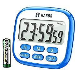 Habor Digital Kitchen Timer, Cooking Timer, Large Display, Strong Magnet Back, Loud Alarm, Memory Function, 12-Hour Display Clock, Count-Up & Count Down for Cooking Baking Sports Games Office