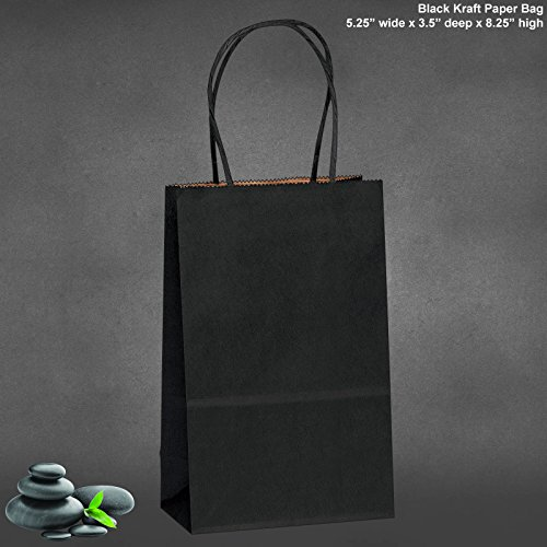 5.25''x3.25''x8'' - 50 Pcs - Bagsource Black Kraft Paper Bags, Shopping, Mechandise, Party, Gift Bags by BagSource