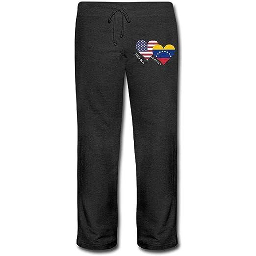 Bu-BY America Venezuela Flag Heart Pantalones de chándal para ...