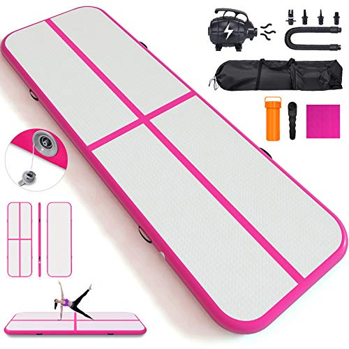 - Happybuy 10ft/13ft/17ft/20ft/23ft/26ft/33ft Air Track 8 inches Thick Tumbling Mat Inflatable Gymnastics Airtrack for Home/Cheerleading/Yoga/Parkour/Water with Pump (Pink(40x4in), 13)