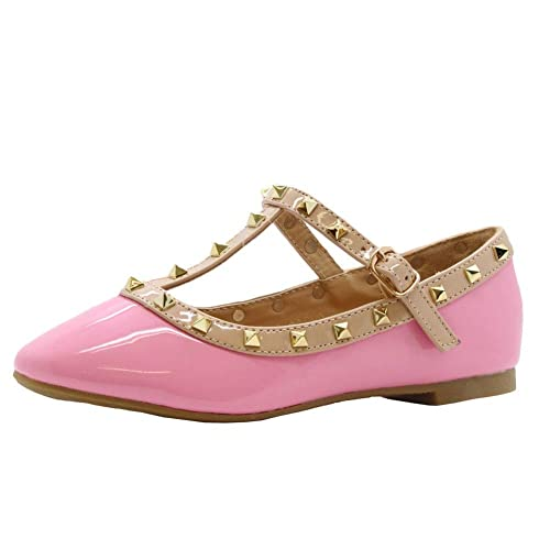 dea0e2db019 Girls Kid Party Flat Studded Pointed Toe T-Bar Buckle Pumps Ballerina Shoes  Size UK (1-13)