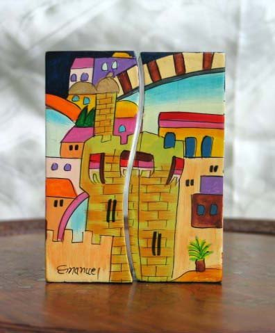 Wood Candle Holder Emanuel - Yair Emanuel Fitted Shabbat Candlesticks with Holy City Depictions