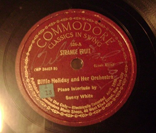 Strange Fruit Signed In White Ink 78 rpm