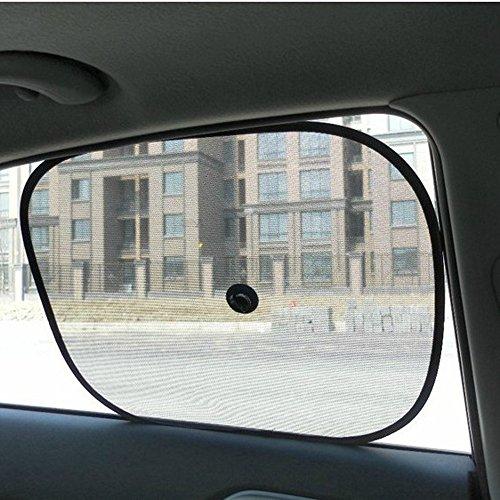 (NszzJixo9 2PS Car Window Shades - Rear UV Mesh Sun Blind Kids Children Sunshade Blocker Black, Premium Quality Reflective Polyester Material Blocks Heat & Sun)