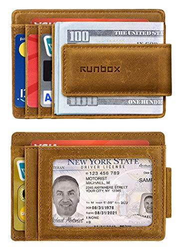 - Money Clip Wallet for Men,Minimalist Slim Front Pocket Wallets with RFID Blocking & Leather