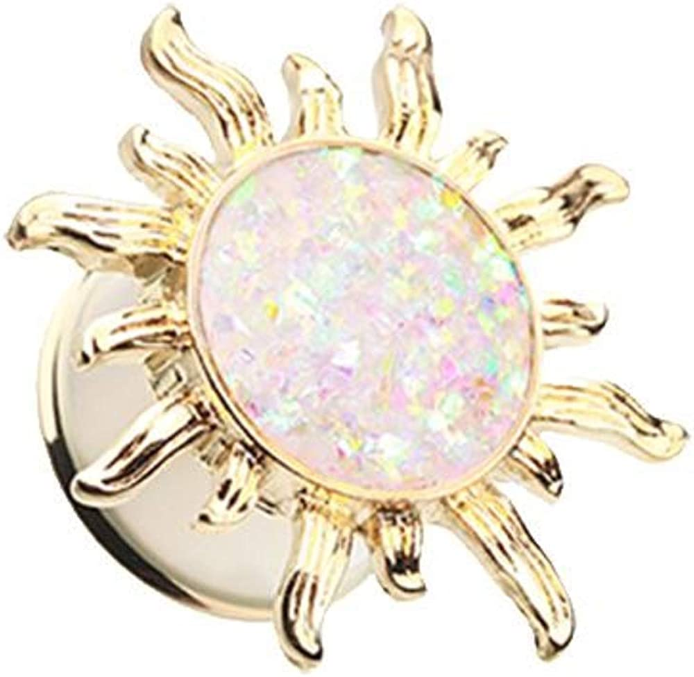 Covet Jewelry Golden Blazing Sun Opal Glitter Ear Gauge Plug