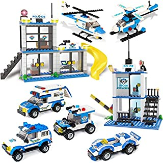808 Piece City Police Station & Car Building Bricks Kit, City Police Heros Roleplay Toy Blocks Play Set with Cop Car & Helicopter, Storage Box with Baseplate Lid, Popular Gift for Boys and Girls 6-12