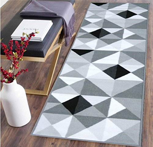 Venice Collection, 20 Inch X 59 Inch, (Non- Skid/Slip), Contemporary Rectangular Design, Kitchen/Bathroom/Hallway Area Rugs Runner (Grey Black) ()