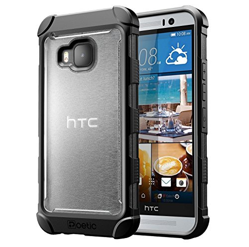 HTC One M9 Case - Poetic [Affinity Series] - [TPU Grip Bumper] [Corner Protection] Protective Case for HTC One M9 (2015) Frost Clear/Black (3-Year Manufacturer Warranty From Poetic)