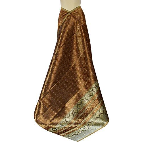 KunsA Thai Synthetic Silk Fabric Phumriang Traditional Copper & Golden for Sarong/Dress 75''x 41'' by KunsA