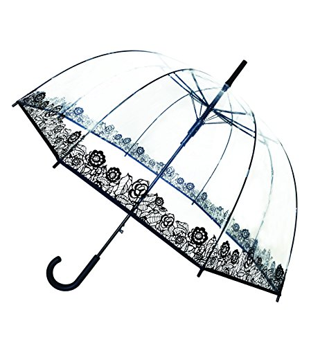 SMATI Stick Birdcage Clear Umbrella dome transparent - Automatic open (Clear Bubble Umbrella)