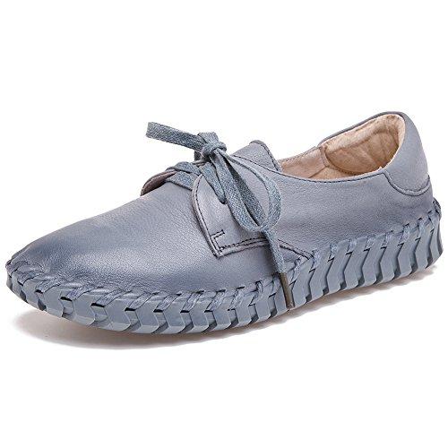 Shenn Damen Arbeit Platz Komfort Beiläufig oben Qualität Leder Mode Sneaker Grau