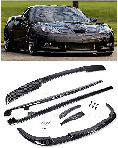 (For 2005-2013 Chevrolet Corvette C6 Wide Body Models   ZR1 Style ABS Plastic Hydro-Dipped Carbon Fiber Front Bumper Lip Splitter With Side Skirts Mud Flaps Pair & Rear Wing Spoiler)