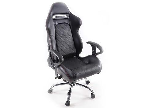 Racing Seat - Silla de oficina gaming con reposabrazos cuero sintético negro