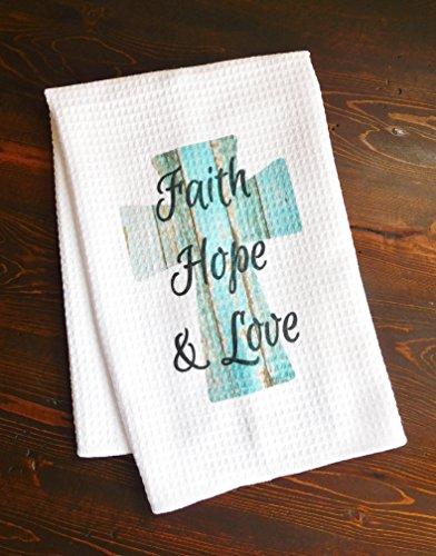 Kitchen Dishtowel - Faith, Hope, and Love Turquoise Wooden Cross