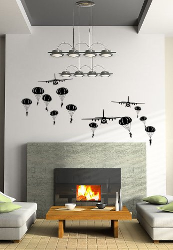 Pop Decors Wall Decals for Nursery Room, Paratrooper and Airplanes