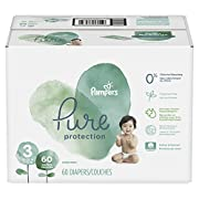 Pampers Pure Disposable Baby Diapers, Hypoallergenic and Fragrance Free Protection, Size 3, 60 Count