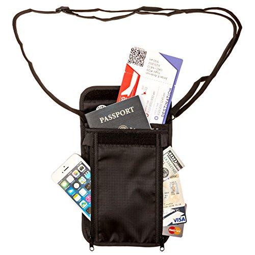Tournity Neck Passport Wallet - RFID Blocking - Secure Pockets - Lightweight & Water Resistant - Comfortable Neck Strap w/New Buckle Design
