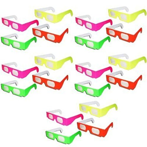 ZiYan-20 Pairs - Neon Prism Diffraction Fireworks Glasses - For Laser Shows, Raves