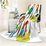 Microfiber Fleece Comfy All Season Super Soft Cozy Blanket Cute kids volunteers illustration for Bed Couch and Gift Blankets(90''x 70'')