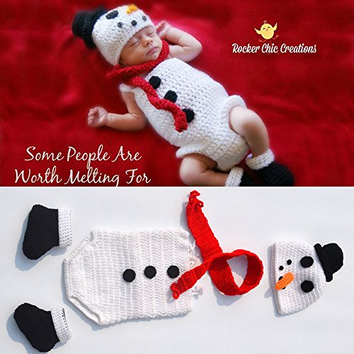 [Newborn Baby Christmas Photography Prop Crochet Knitted Crochet Costume Snowman 4pcs Suit Hat Scarf and Underwear] (Snowman Costume Hat)