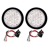 "2pcs 4"" Round 24-LED Reverse Back-up Fog Lights Grommet Plug for RV Jeep Truck Trailer (Clear Lens - White Light)"