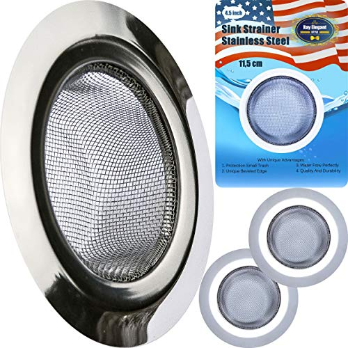 """Kitchen Sink Strainer - 2 PC Stainless Steel Sink Strainer 4.5"""" - Strong, Clean, Reliable Stainless Steel Prevent Rust, Edges Not Sharp, Deep Mesh, Quick Outflow - Outer 4.5"""" x Inner 2.75"""" x Deep 1.5"""""""
