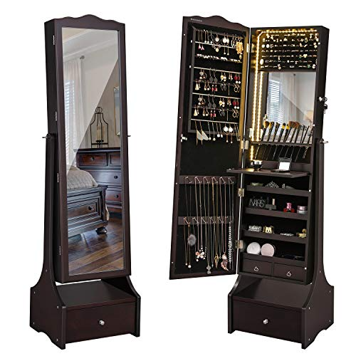 SONGMICS 39.4'' LED Light Strip Jewelry Cabinet Armoire, Lockable Full Length Mirrored Jewelry Organizer, Makeup Tray and Large Drawer Base UJJC87BRV1 (Cabinets With Mirror Jewelry)