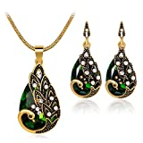LLguz Simple Women Fashionable Personality Zircon Retro Peacock Pendant Necklace+Earrings Wedding Party Bridal Jewelry Set (Green)